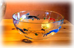 Fruit bowl, glass fruit bowl, dancing dogs, greyhound glass