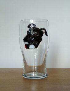 Greyhound glass, grehound design, greyhound art, greyhound pint, crafty dog glass, Crafty Dog Cymru