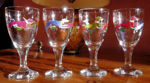 Two Pairs of Dancing Dg Goblets