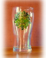 Green Man, Green Man Gklass, Green MAn design, Welsh Pint, Welsh Glass, Celtic Glass