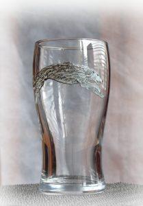 deerhound art, deerhound glass, dog pint glass, dog glass, hound glass, Deerhound art