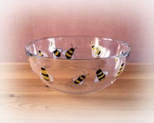 Bees, Bee Art, Bee Design, Bee Glassware, Bee Glass, Honey Bowl