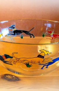 Dog Gifts, Dog Art, Dog Glassware, Dancing Dogs, Celtic Dogs, Greyhound Glass, Greyhound Bowl,