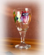 Owls, Owl Glass, Owl Wine Glass.