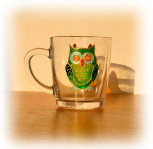 Owl design, owl art, owl artwork, owl glass, owl glassware