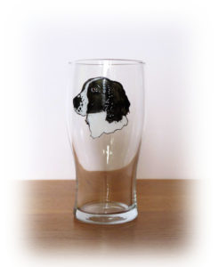 Soaniel Glass, Spaniel Design, Black and White Spaniel, dog glass