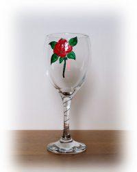 Red Rose, Red Rose Glass,Wine Glass,Red Rose, Red Rose Glass