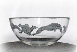 Scottish deerhound, deerhound art, Scottish deerhound glassware, deerhound glassware, deerhound design, deerhound bowl, Scottish Deerhound glassware