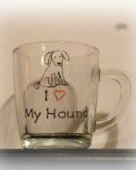 Hound glass, hound mug, dog glass, dog mug,