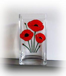 Poppy, Poppy Vase, PoppyGlassware, poppy Gift, Poppy Giftware, Remembrance, Remembrance Glass, Remembrance Glassware, Red poppy, Memorial Poppy