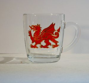 Welsh gifts, Welsh glass, Welsh Mug, Dragon Glass, Dragon Mug, Made in Wales, Gifts from Wales