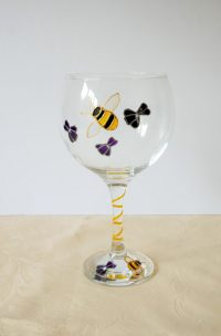 Bees, Bee Glass, Bees and Violets, Welsh Glass, Gin Glass, Welsh Gin, Wales Gin Glass, Wales Glass
