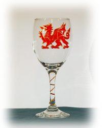 Wales Glass, Welsh Glass, Wales Wine, Welsh Wine, DRagon Glass, Dragon WIne Glass, Dragon Drinking Glass, Wales Glass