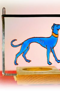 medieval hound, medieval greyholund, greyhound glass, greyhound stained glass