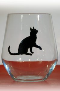 Welsh Gin, Black Cat Gin, Welsh G;ass, Gin Glass, Cat Glass, Cat Designs