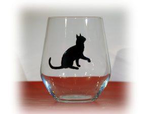 Welsh Gin, Black Cat Gin, Welsh G;ass, Gin Glass, Cat Glass, Cat Designs