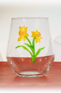 Welsh Glass, Wales Glass, Daffodils, Daffodil Glass, Wales