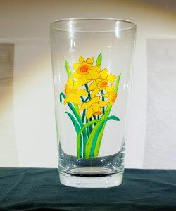 Daffodil VAse, Welsh Art, Wales Art, Wales Glass, Welsh design, daffodil design