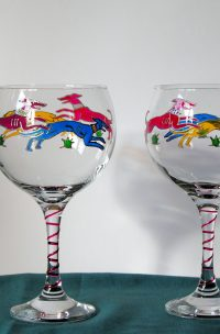 Welsh Glass, Welsh Art, Greyhound Glass, Greyhound Design, Greyhound Art, Dancing Dogs, Dancing Dogs Glass, Crafted in Wales