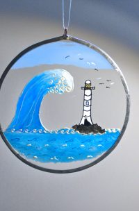 Sea views, Lighthouse, Marine Art, Marine Glass, Lighhouse Art, Welsh Gifts, Marine Gifts, The Wave, The Wave Art, Welsh Gifts, Handmade in Wales