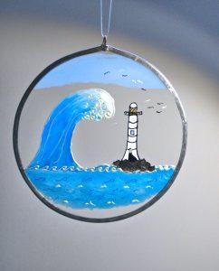 Sea views, Lighthouse, Marine Art, Marine Glass, Lighhouse Art, Welsh Gifts, Marine Gifts, The Wave, The Wave Art, Welsh Gifts, Handmade in Wales