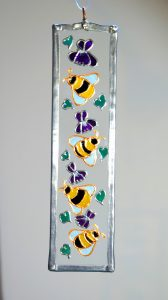 Bees, Bee Glass, Bee Suncatcher, Welsh Art, Welsh Glassware, Welsh Honey, Violets