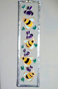 Bees, Bee Glass, Bee Suncatcher, Welsh Art, Welsh Glassware, Welsh Honey, Violets
