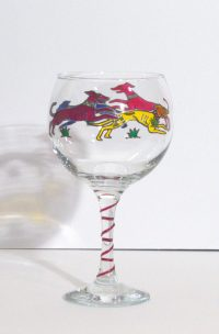 Greyhound Glass, Dog Glass, Welsh Glass, Welsh Gifts, Dog Glass, Greyhound Gifts,