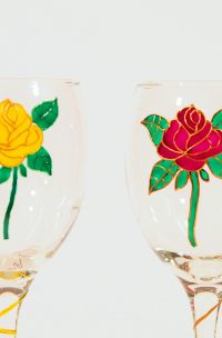 Rose Glass, Rose WIne, Wine Glass, Welsh Glass, Crafted in Wales, Welsh Crafts, Welsh Glass
