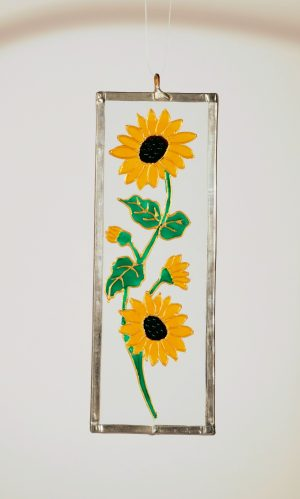Sunflower, Welsh Gifts, Welsh Glass, MAde in Wales, Welsh Art, Crafty Dog Cymru