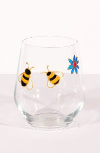 Bees Glass, Bees Gin, Gin Glass, Welsh Gin, Bees and Flowers, Welsh Gifts, Welsh Gift, Welsh Art, Welsh Glass