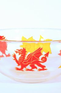 Welsh Glass, Welsh Bowl, Welsh Dragon, Dragon Glass, Dragon Gifts, DWelsh Dragon Gift, Welsh Crafts, Made in Wales