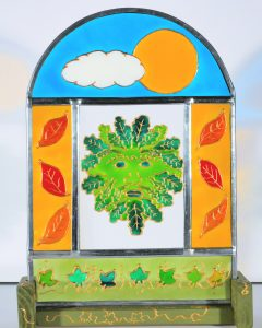 Green Man, Celtic Art, Pagan ARt, Spirit of the Woods, The Green Man, Celtic ARt, HAndmade in Wales, Welsh Art, Welsh Crafts, Welsh Glass, Welsh STained Glass, Welsh PAinted Glass