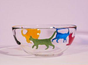 Cat Bowl, Fruit Bowl, Cat Designs, Cat Glas, Cat Glassware, Glass Art, Love Cats