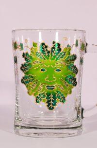 Green Man, Green Man Glass, Jack in the Green, Tree Spirits, Woodland Spirits, Woodland Folk, Green MAn Art, Green Man Designs, Pagan ARt, Welsh Beer, Beer Glass, Cider Glass, Welsh Cider,